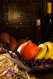 Stilllife with wine and various vegetables Royalty Free Stock Photography