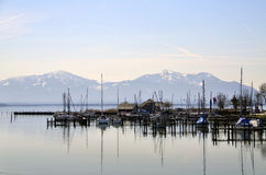 Stillness in a harbor stock photos