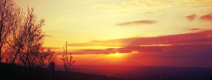 Stillsam solnedgång i Cheshire East Fotografering för Bildbyråer