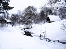stillsam vinter för liggande Fotografering för Bildbyråer
