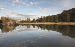 Stillsamma flodreflexioner: Löst & fritt Arkivbilder