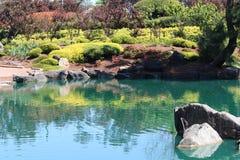 Stillsamma japanska trädgårdar Arkivfoto