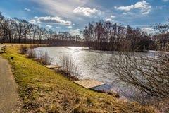 Stillsamt damm för `-Vrah ` - Milicov skog, Prague, Tjeckien arkivfoto