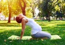 Stillsamt gravid kvinnasammanträde i yoga poserar utomhus Royaltyfria Bilder