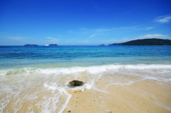 Stillsamt landskap på Kota Kinabalu Beach arkivbilder