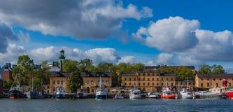 Stillstehende Boote Skeppsholmen III stockfoto