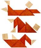 Stillstehende Zahlen des Tangram Stockbilder