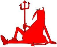 Stillstehender roter Teufel, der aus den Grund sitzt lizenzfreie abbildung