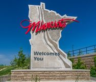 Minnesota Roadway Entrance Sign. STILLWATER, MN/USA - JUNE 10, 2017: Roadway welcome entrance sign to the state of Minnesota Royalty Free Stock Photography