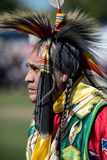 Stillwater Pow Wow Native American. Participant dancing Native American style at the Stillwater Pow Wow in Anderson, California royalty free stock image