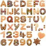 Stilsort för bokstäver för kakor för julalfabetpepparkaka royaltyfri illustrationer