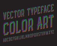 Stilsort för färgkonstvektor Kulör strimmig stilsort Isolerat engelskt alfabet Stock Illustrationer