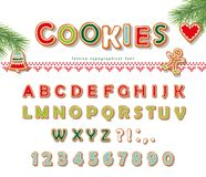 Stilsort för julpepparkakakaka Kexbokstäver och nummer vektor royaltyfri illustrationer