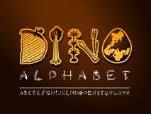 Stilsort för konst för vektorhand utdragen Gulliga paleontologibokstäver vektor illustrationer