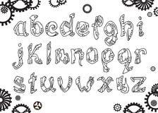 Stilsort för latinskt alfabet för Steampunk översikt i hand dragen stil Arkivbild