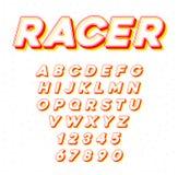 Stilsort för tävlings- sport för vektorhastighet kursiv med bokstäver och nummer vektor illustrationer