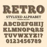 Stilsort för tappningtypografivektor Dekorativt retro alfabet Gamla västra stilbokstäver och nummer stock illustrationer
