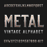 Stilsort för vektor för tappningstilalfabet Metalleffekt märker och nummer Arkivfoto