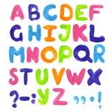 stilsort Vattenfärgbokstäver färgrikt alfabet abc Arkivfoto