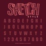 stilsorten skissar alfabetet, vektorillustration Royaltyfri Foto