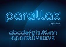 Stilsorter för neon för Parallaxvektor linjära, alfabet, bokstäver, stilsort, royaltyfri illustrationer