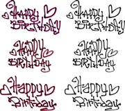 Stilsorter för grafitti för önska för lycklig födelsedag hand drog vätskelockiga Arkivbilder