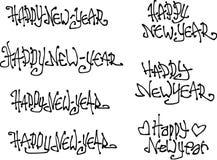 Stilsorter för grafitti för önska för lyckligt nytt år hand drog vätskelockiga Arkivbild
