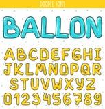Stilsortsballon Ställ in volymbokstäver, nummer i klotter Märker handdrawn stock illustrationer