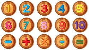 Stilsortsdesign för nummer och tecken på runda emblem royaltyfri illustrationer