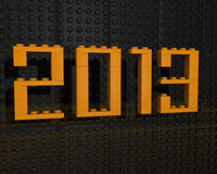 stilsortsorange 2013 för lego 3d Fotografering för Bildbyråer
