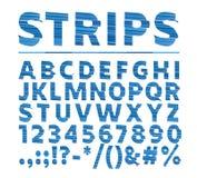 Stilsortsremsor Vektor av den strimmiga djärva stilsorten och alfabetet Skifta effe royaltyfri illustrationer