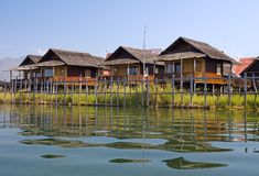 Stilt bungalows on the Inle lake Stock Images