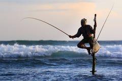 Stilt fisherman. A unique way fishing in Sri Lanka stock image