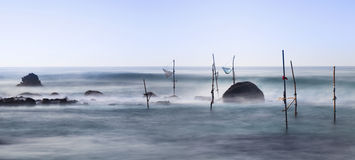 Panorama of stilt fishermen fishing places Stock Photography
