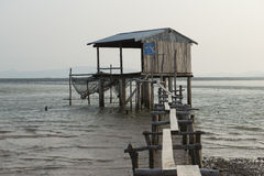 Stilt fishermen at sea. Kampot, Cambodia Stock Images