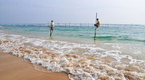 Stilt Fishermen of Sri Lanka Stock Photos