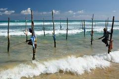 Stilt Fishermen. Weligama. Sri Lanka Royalty Free Stock Photos