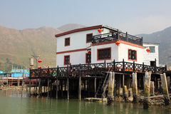 Stilt house in chinese fishing village Royalty Free Stock Images