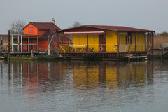 Stilt house and fishing nets along the Po Delta Royalty Free Stock Image