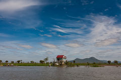Stilt house landscape at Tonle Sap Lake Cambodia Royalty Free Stock Images