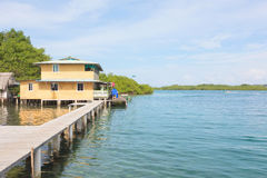 Stilt house over water of the Caribbean sea Stock Photography