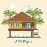 Stilt House. Vector Illustration Stock Photos