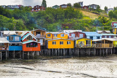 Stilt houses in Castro, Chiloe island (Chile) Royalty Free Stock Photos