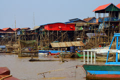 Stilt houses of Kompong Kleang floating village Stock Photography