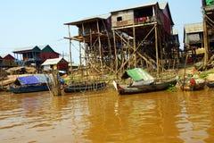 Stilt houses of Kompong Kleang floating village Stock Images