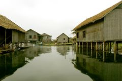 Stilt houses on lake. Image of stilt houses on lake Stock Images