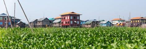 Stilt houses in Myanmar royalty free stock images