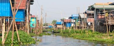 Stilt houses in Myanmar royalty free stock image
