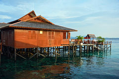Stilt houses in Sipadan Royalty Free Stock Photography