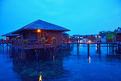 Stilt houses in Sipadan Mabul  Resort Royalty Free Stock Photo